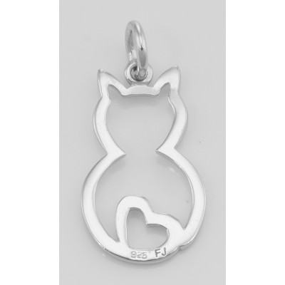 Cute Cat Charm with Heart - Pendant - In Fine Sterling Silver