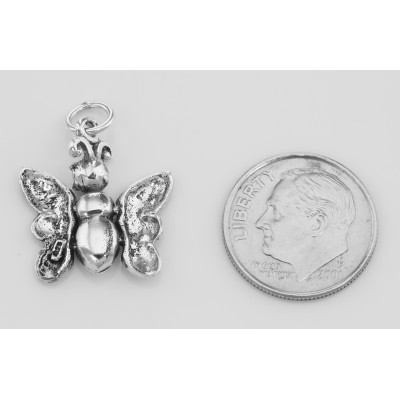 Movable Butterfly Charm Pendant - Moveable - Sterling Silver