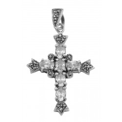 ad09d1981 Antique Style Cubic Zirconia / Marcasite Cross Pendant Sterling Silver