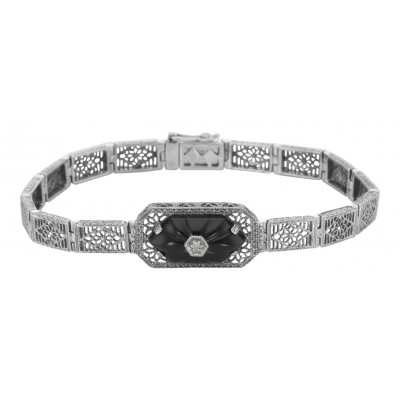 Victorian Style Filigree Bracelet w/ Black Onyx  Diamond 7 1/4 Sterling Silver