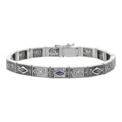 Victorian Style Floral Blue Sapphire Filigree Link Bracelet Sterling Silver
