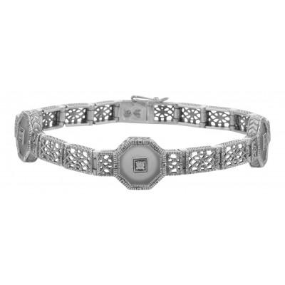 Art Deco Style Camphor Glass Crystal / CZ Filigree Bracelet - Sterling Silver