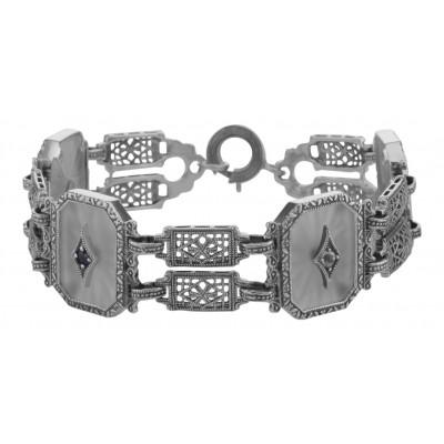 Art Deco Style Filigree Camphor Glass Starburst Crystal Bracelet Sterling Silver