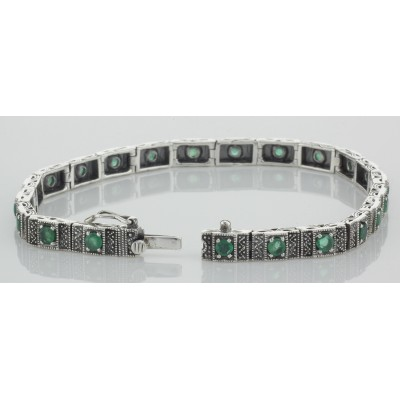 Beautiful Victorian Style Natural Emerald Filigree Link Bracelet Sterling Silver