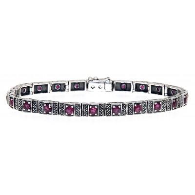 Beautiful Victorian Style Ruby Filigree Link Bracelet in fine Sterling Silver