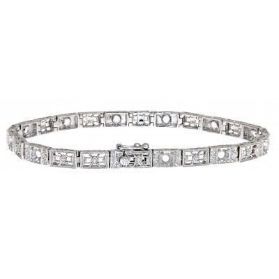 Victorian Style 9 Stone Semi Mount Filigree Bracelet in 14kt White Gold