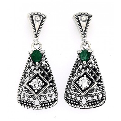 Art Deco Emerald and White Topaz Filigree Earrings - Sterling Silver