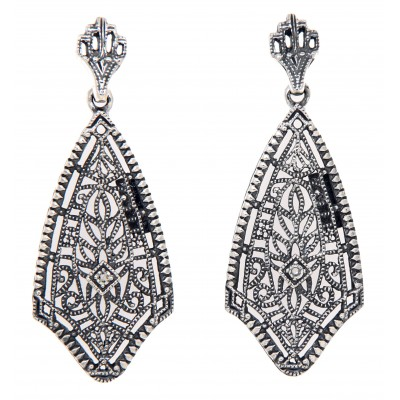 Filigree Earrings w/ Genuine Diamond Center - Sterling Silver