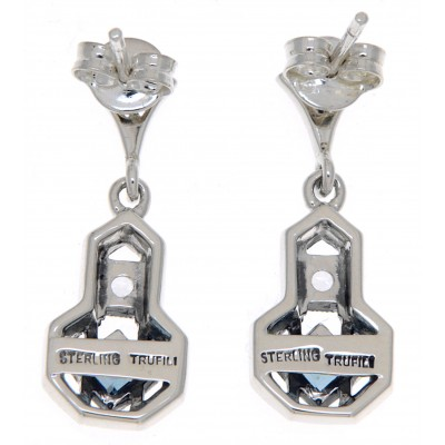 Art Deco Style London Blue Topaz and White Topaz Filigree Earrings - Sterling Silver
