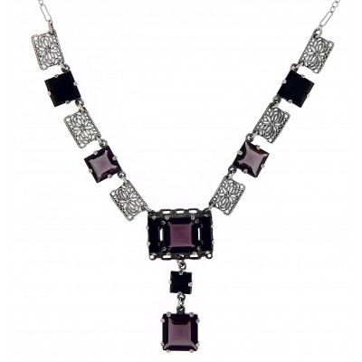 Art Deco Style Amethyst and Onyx Necklace - Sterling Silver