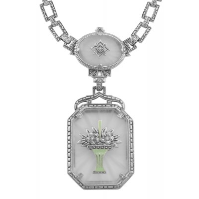 Art Deco Style Camphor Glass Filigree 3 Diamond Necklace Sterling Silver