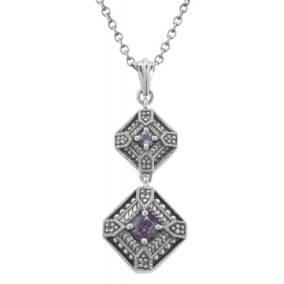 Art Deco Style Genuine Amethyst and Filigree Necklace - Sterling Silver