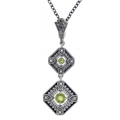 Art Deco Style Genuine Peridot and Filigree Necklace - Sterling Silver
