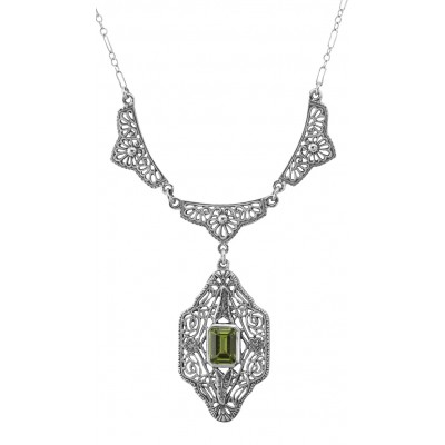 Beautiful Victorian Style Peridot Filigree Necklace 19 Chain - Sterling Silver
