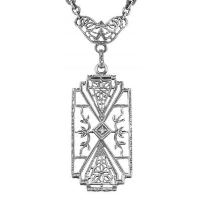 Art Deco Style Camphor Glass Filigree Diamond Necklace Sterling Silver