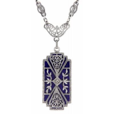 Art Deco Style Blue Lapis Filigree Diamond Necklace - Sterling Silver