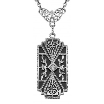 Art Deco Style Black Onyx Filigree Diamond Necklace - Sterling Silver