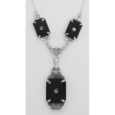 Victorian Style Black Onyx Filigree Diamond Necklace in Fine Sterling Silver