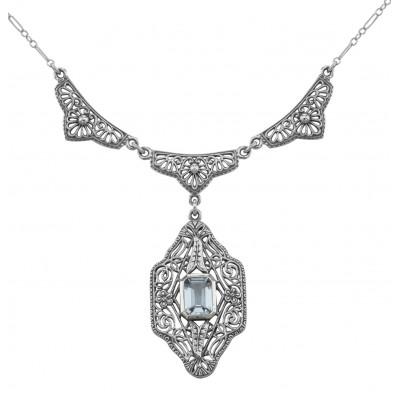 Unique Victorian Style Blue Topaz Filigree Necklace - Sterling Silver