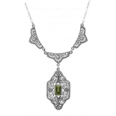 Beautiful Victorian Style Peridot Filigree Necklace 19 Chain - Sterling Silver