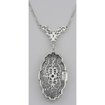 Victorian Style Cubic Zirconia Filigree Necklace with Chain - Sterling Silver