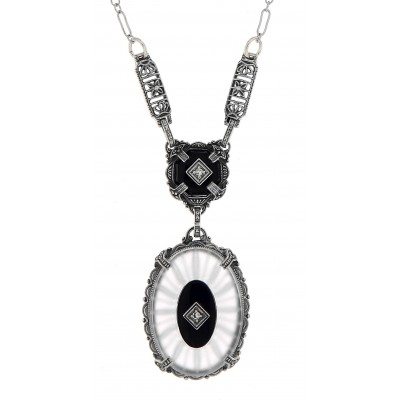 Sunray Crystal / Camphor Glass Jet  Diamond Necklace - Sterling Silver