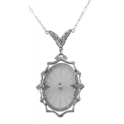 Sunray Crystal / Camphor Glass  Diamond Necklace - Sterling Silver