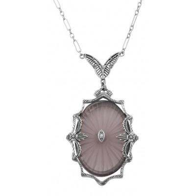 Amethyst Sunray Crystal  Diamond Necklace - Sterling Silver