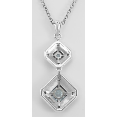Art Deco Style Genuine Blue Topaz and Filigree Necklace - Sterling Silver