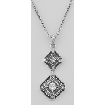 Art Deco CZ Filigree Necklace with 18 Inch Adjustable Chain - Sterling Silver