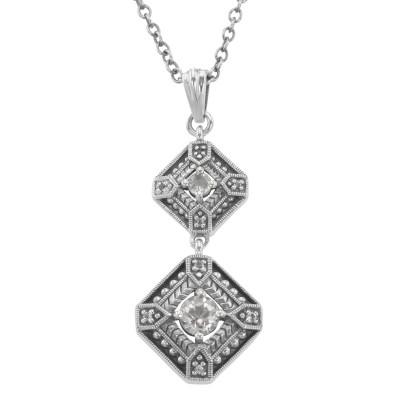 Art Deco White Topaz Filigree Necklace 18 Inch Chain Sterling Silver