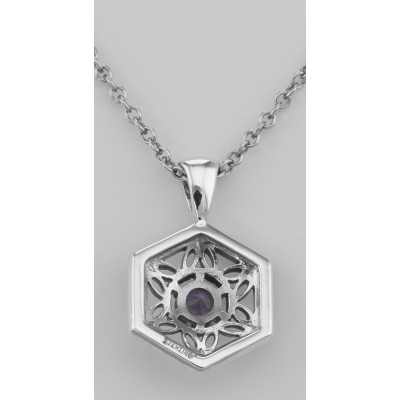 Sterling Silver Filigree Amethyst Pendant w/ Adjustable Chain