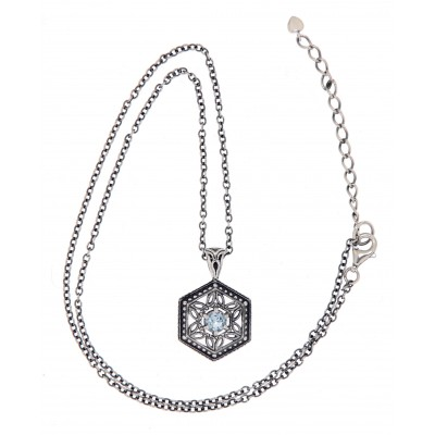 Art Deco Hexagon Filigree Blue Topaz Pendant Adjustable Chain - Sterling Silver