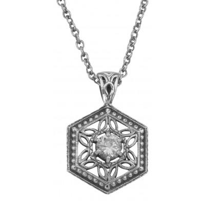 Art Deco Hexagon Filigree CZ Pendant w/ Adjustable Chain - Sterling Silver