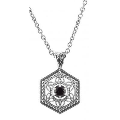 Sterling Silver Filigree Garnet Pendant w/ adjustable Chain