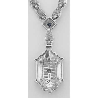 Victorian Style Diamond, Sapphire and Enamel Filigree Necklace Sterling Silver