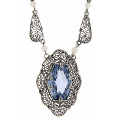 Victorian Style Synthetic Aquamarine and Pearl Filigree Necklace Sterling Silver