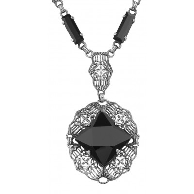 Unique Art Deco Black Onyx Filigree Necklace - Sterling Silver