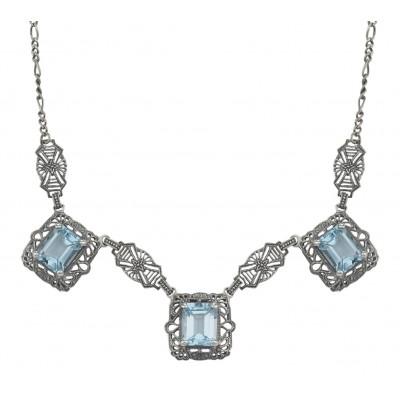 Art Deco Style 3 Gemstone Blue Topaz Filigree 17.5 Inch Necklace Sterling Silver