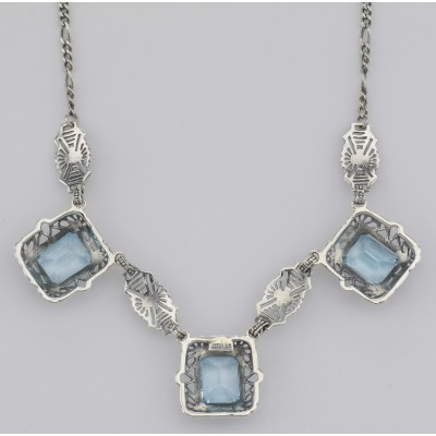 Art Deco Style 3 Gemstone Blue Topaz Filigree 17.5 Inch Necklace Sterling Silver