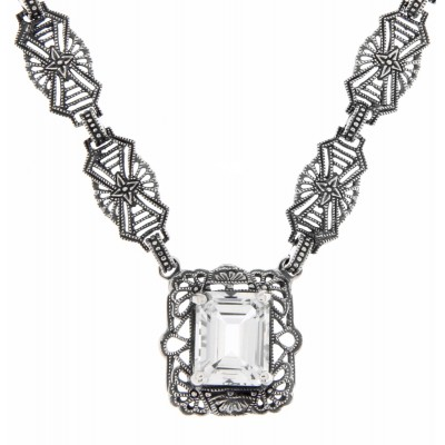 Art Deco Style Genuine White Topaz w/ 18 Inch Filigree Necklace Sterling Silver