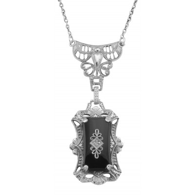 Victorian Style Black Onyx Filigree Diamond Necklace - Sterling Silver