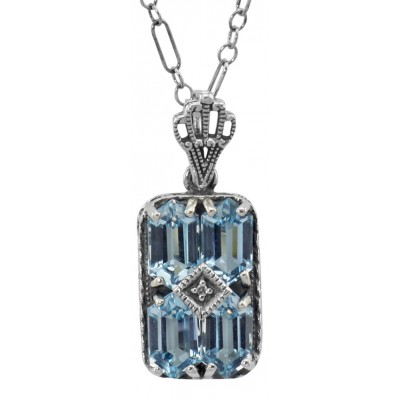 Art Deco Blue Topaz Filigree Diamond Pendant 18 Chain Sterling Silver