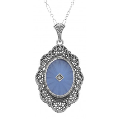 Art Deco Style Blue Camphor Glass and Diamond Filigree Pendant Sterling Silver