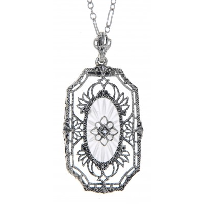 Art Deco Style Camphor Glass Crystal with Sunray Pattern Diamond Pendant with Chain - Sterling Silver