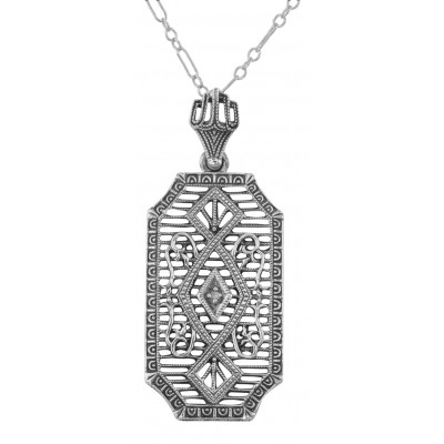 Art Deco Style Diamond Pendant with Chain - Sterling Silver
