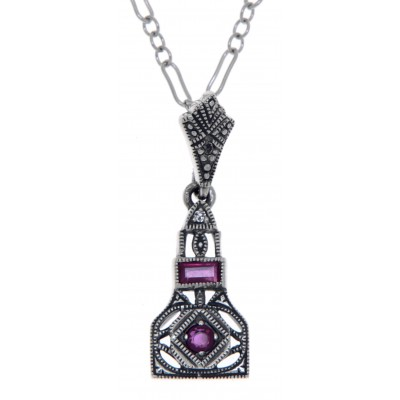 """Art Deco Style Genuine Ruby and White Topaz Filigree Pendant Sterling Silver with 18"""" Deco Chain"""