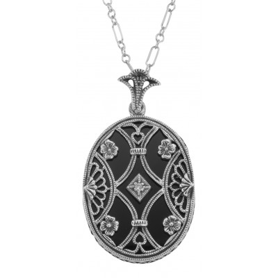 Black Onyx Filigree Diamond Pendant with Chain - Sterling Silver