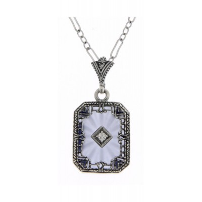 Blue Crystal Camphor Glass with Diamond Center Filigree Sterling Silver Pendant