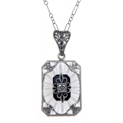Crystal / Oynx Camphor Glass Filigree Diamond Pendant Sterling Silver